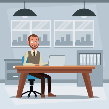 colorful background workplace office with executive man sitting in a table desk in front of computer vector illustration Illustration