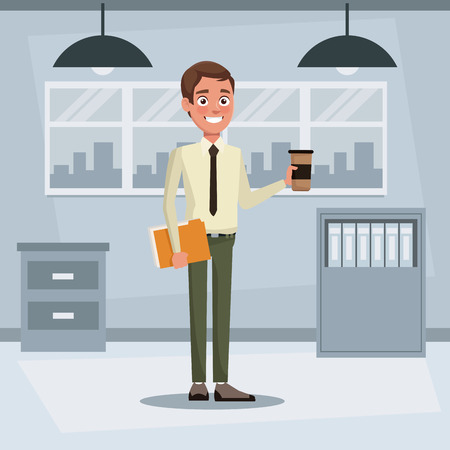colorful background workplace office with executive man standing with folder documents and disposable hot drink vector illustration