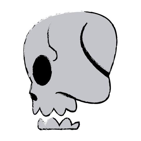 comic skull human side view image vector illustration