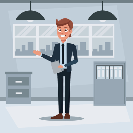 colorful background workplace office with executive young man standing with documents vector illustration Illustration
