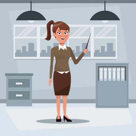 colorful background workplace office with executive woman with ponytail hairstyle standing with pointer vector illustration