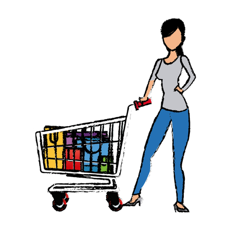 basketful: young woman pushing supermarket shopping cart full of paper bags vector illustration Illustration