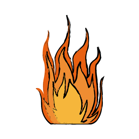 fire hot flame spurts campfire burn heat vector illustration