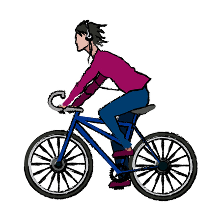 people man with headphones riding bicycle cartoon vector illustration