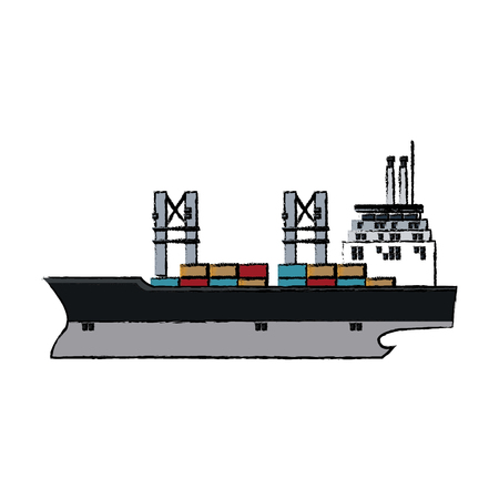 cargo ship containers export cranes industrial vector illustration