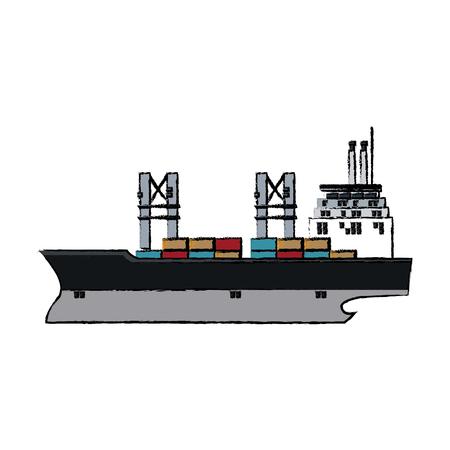 cargo ship containers export cranes industrial vector illustration