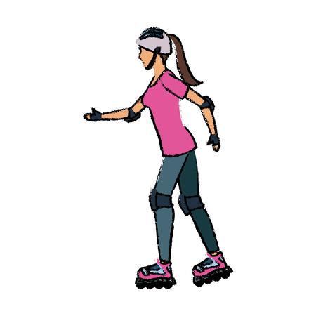 girl roller skate activity hobby sport vector illustration