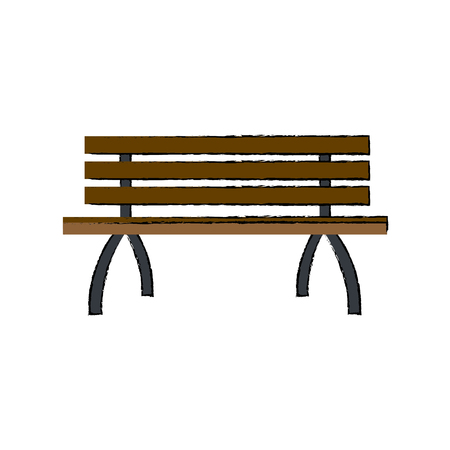 lonely brench furniture wooden image vector illustration Иллюстрация