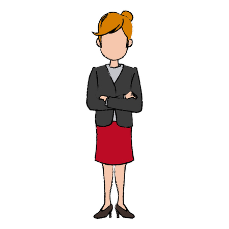 arms folded: business woman character standing people vector illustration Illustration