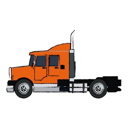 chassis: semi trailer truck transportation isolated on white background vector illustration