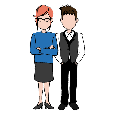 coworker: business man and woman executive managers success together vector illustration Illustration