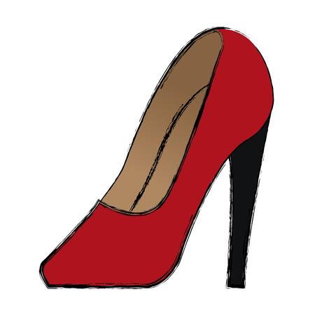 heelpiece: cartoon red women shoe luxury accessory vector illustration Illustration