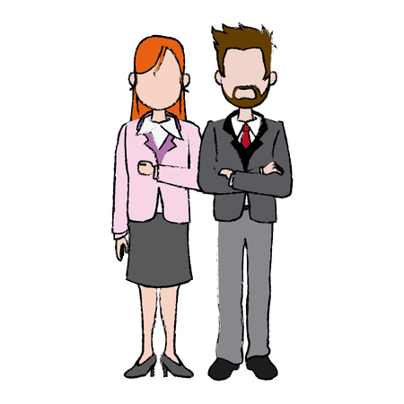 business man and woman executive managers success together vector illustration Illustration