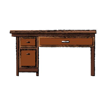 Office Desk Wooden Drawer Handle Furniture Vector Illustration Vector