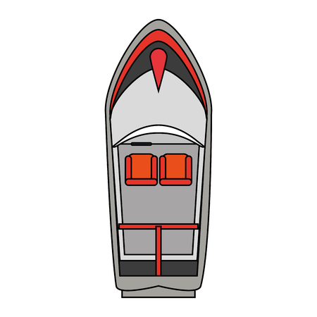 boat seen from above over white background vector illustration
