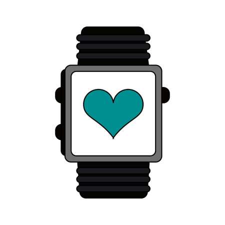 touch screen interface: smartwatch over white background vector illustration icon
