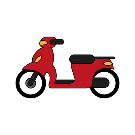 Red motorcycle over white background vector illustration