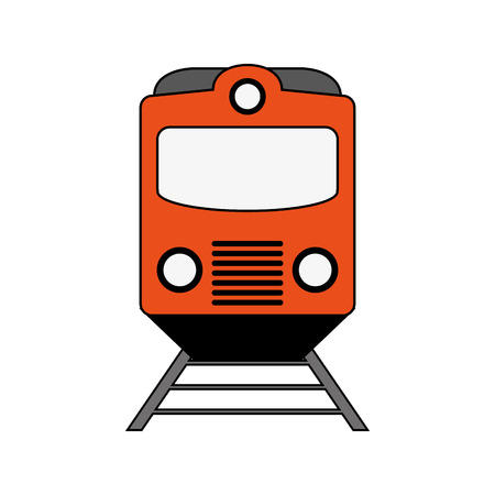 Train front view over white background vector illustration