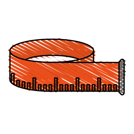 millimeter: Measuring tape doodle over white background vector illustration