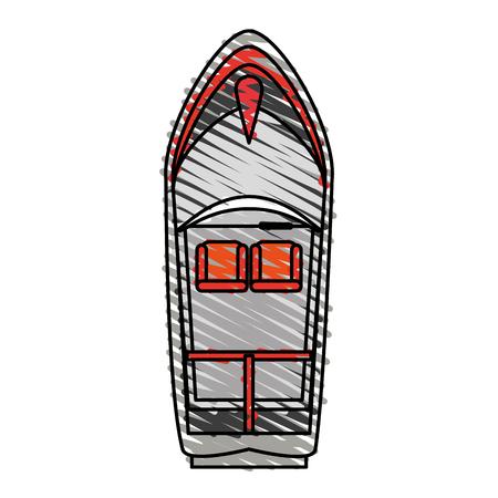 Bateau, doodle, sur, blanc, fond, vecteur, Illustration Banque d'images - 81016580
