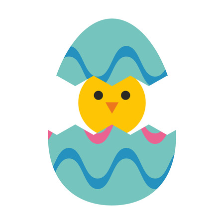 chick: decorated egg with chick inside easter related icon image vector illustration design Illustration