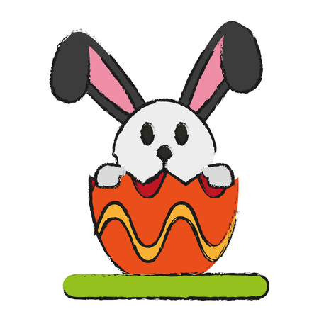 bunny or rabbit with decorated egg easter related icon image vector illustration design