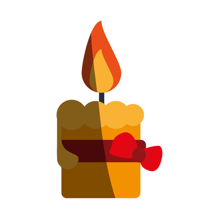 lit candle with ribbon bow icon image vector illustration design