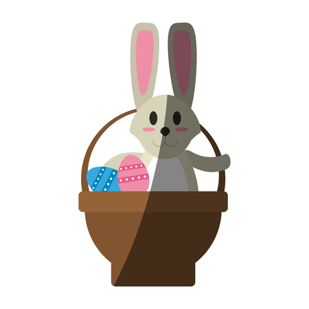 bunny or rabbit with egg and basket easter related icon image vector illustration design