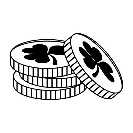 st  patrick's day: coins with clover or shamrock saint patricks day related icon image vector illustration design  black line Illustration