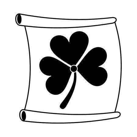 st  patrick's day: paper with clover or shamrock saint patricks day related icon image vector illustration design  black line Illustration