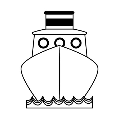 Van het het pictogrambeeld van het vrachtschipt frontview vector de ontwerp zwarte lijn