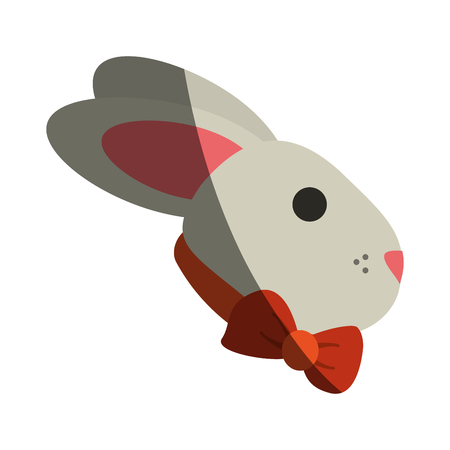 bunny or rabbit with bowtie easter related icon image vector illustration design Illustration