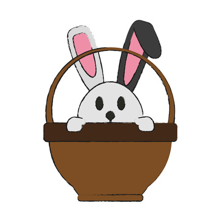 bunny or rabbit and basket easter related icon image vector illustration design