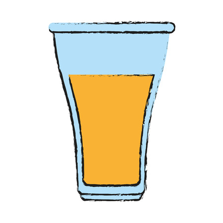 thirsty: glass cup with yellow  beverage icon image vector illustration design