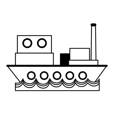 vrachtschip sideview pictogram afbeelding vector illustratie ontwerp zwarte lijn