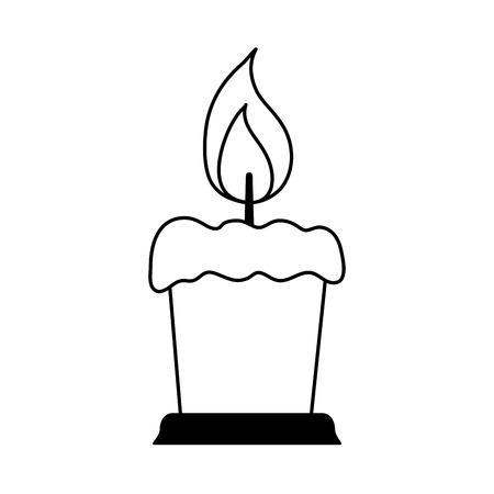 lit candle icon image vector illustration design  black line Illustration