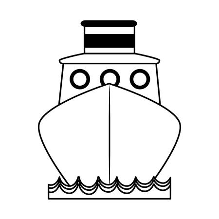 vrachtschip frontview pictogram afbeelding vector illustratie ontwerp zwarte lijn