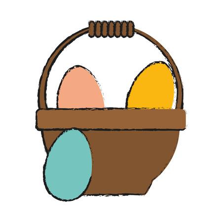 eggs in basket easter related icon image vector illustration design Illustration