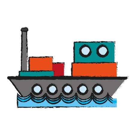 Vrachtschip sideview icoon afbeelding vector illustratie ontwerp