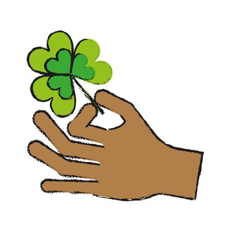 st  patrick's day: hand holding shamrock or clover leaf saint patricks day related icon image vector illustration design