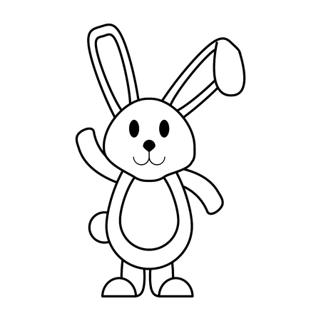cartoon rabbit or bunny icon image vector illustration design  black line
