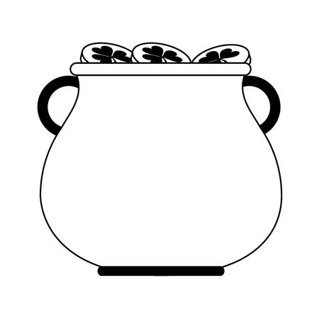 st  patrick's day: Pot of gold coins saint Patricks day related icon image vector illustration design  black line. Illustration