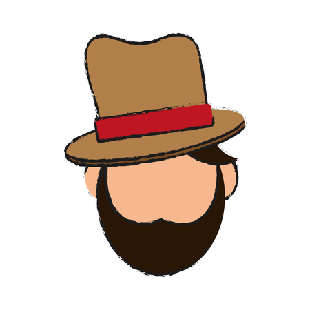 man wearing masculine hat icon image vector illustration design