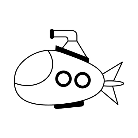 Cartoon submarine icon image vector illustration design  black line Illustration