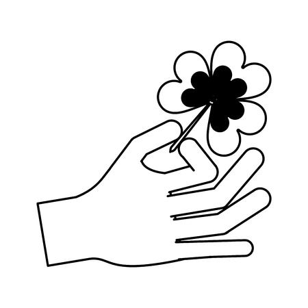 st  patrick's day: Hand holding shamrock or clover leaf saint patricks day related icon image vector illustration design  black line.
