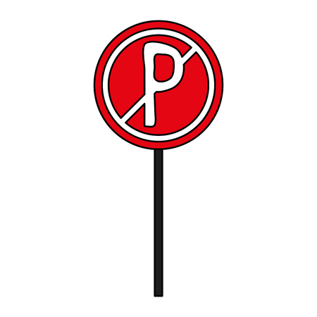 parking is prohibited: Parking prohibited street sign over white background vector illustration