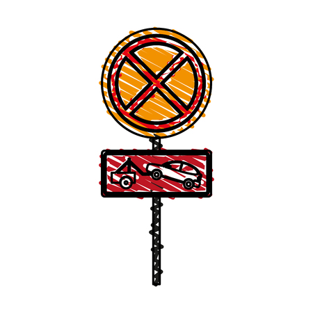 traffic pole: No parking tow away doodle over white background vector illustration