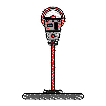 expired: Parking meter doodle over white background vector illustration
