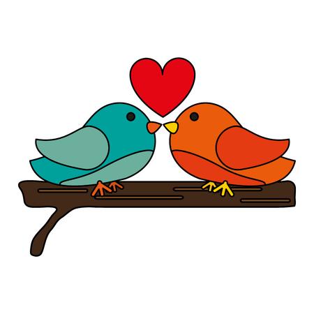 Vogels met hart over witte achtergrond vector illustratie