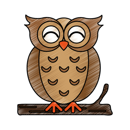 Cute owl doodle over white background vector illustration
